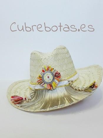 sombrero boho flecos dorados