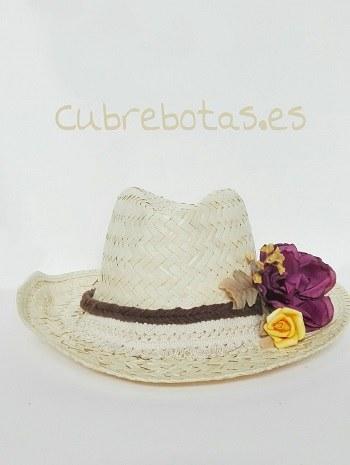 Sombrero Boho Flores vino
