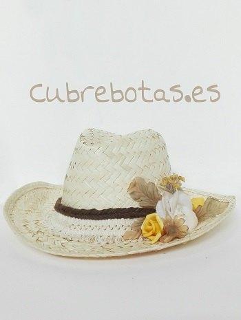 Sombrero boho flores amarillas